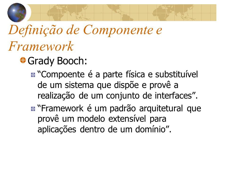 Definição de Componente e Framework Grady Booch: Compoente é a parte física e substituível de um sistema que dispõe e provê a realização de um conjunto de interfaces.