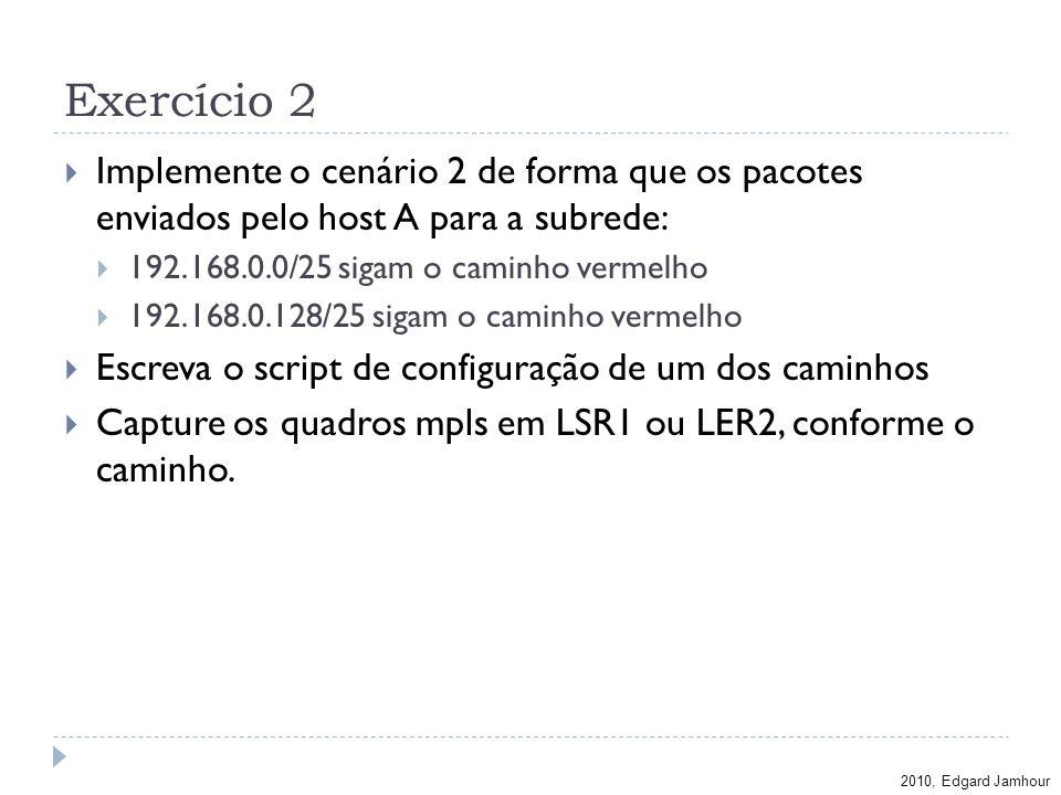2010, Edgard Jamhour Exercício 2 Implemente o cenário 2 de forma que os pacotes enviados pelo host A para a subrede: 192.168.0.0/25 sigam o caminho ve