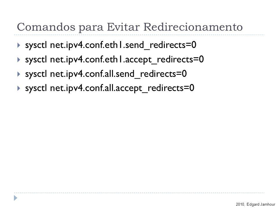 2010, Edgard Jamhour Comandos para Evitar Redirecionamento sysctl net.ipv4.conf.eth1.send_redirects=0 sysctl net.ipv4.conf.eth1.accept_redirects=0 sys