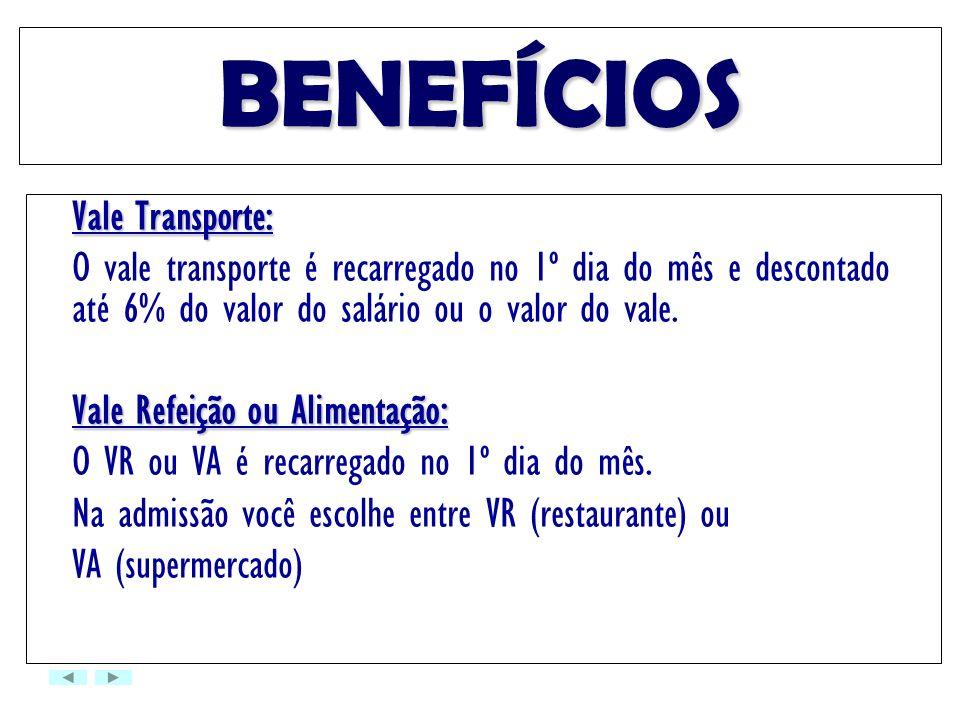 BENEFÍCIOS Vale Transporte: O vale transporte é recarregado no 1º dia do mês e descontado até 6% do valor do salário ou o valor do vale. Vale Refeição
