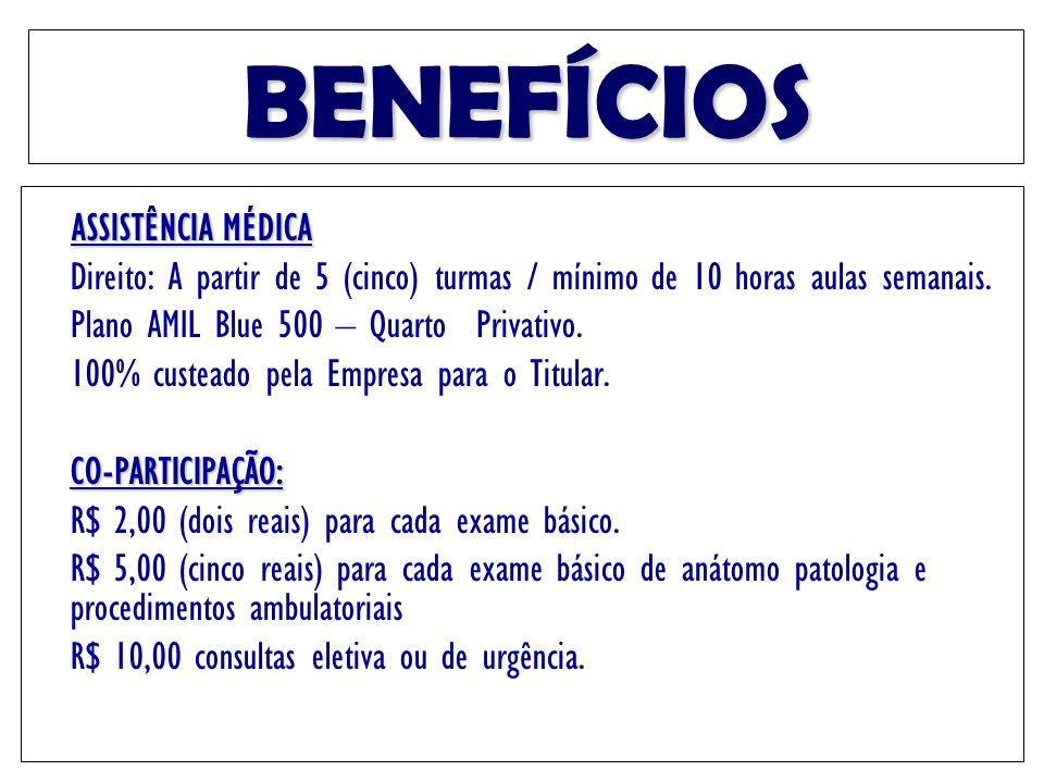 BENEFÍCIOS ASSISTÊNCIA MÉDICA Direito: A partir de 5 (cinco) turmas / mínimo de 10 horas aulas semanais. Plano AMIL Blue 500 – Quarto Privativo. 100%