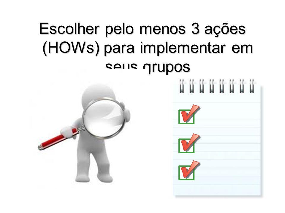 Escolher pelo menos 3 ações (HOWs) para implementar em seus grupos