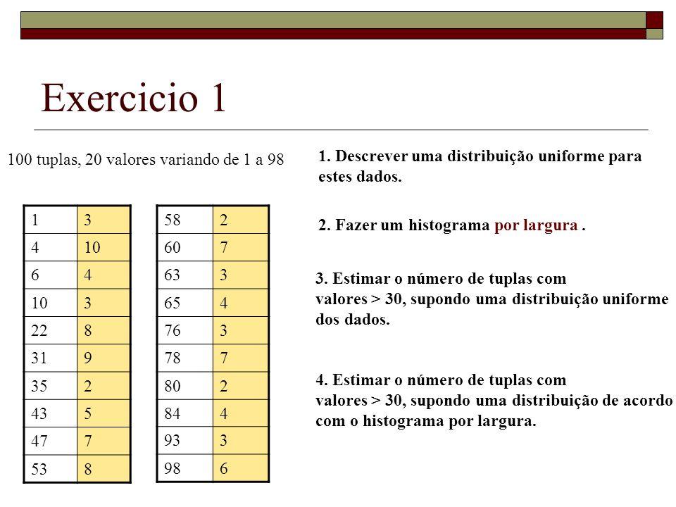 Exercicio 1 100 tuplas, 20 valores variando de 1 a 98 13 410 64 3 228 319 352 435 477 538 582 607 633 654 763 787 802 844 933 986 1.