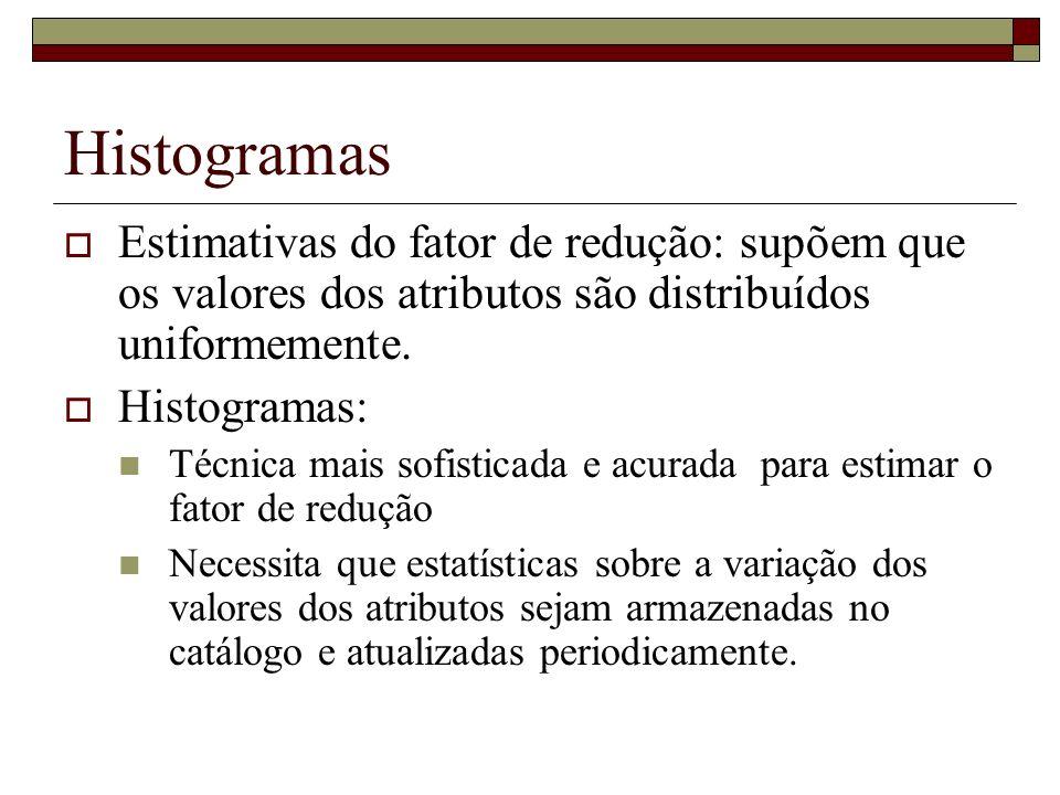 Histogramas Estimativas do fator de redução: supõem que os valores dos atributos são distribuídos uniformemente.