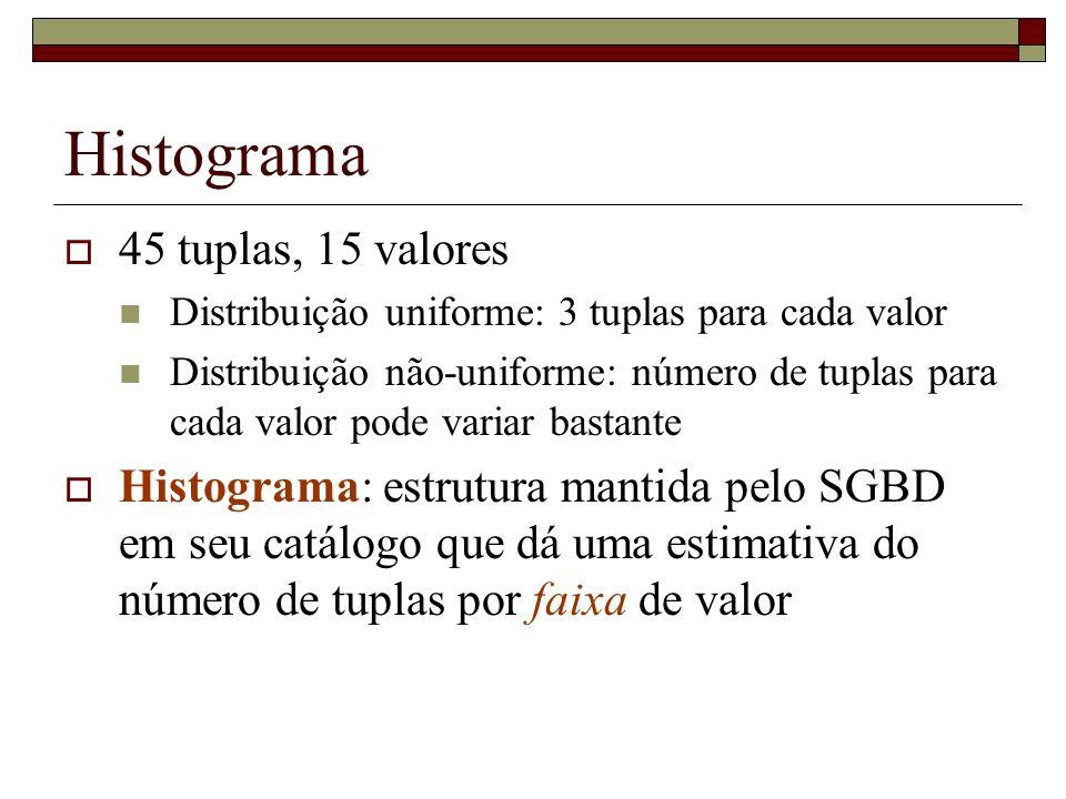 Histograma 45 tuplas, 15 valores Distribuição uniforme: 3 tuplas para cada valor Distribuição não-uniforme: número de tuplas para cada valor pode variar bastante Histograma: estrutura mantida pelo SGBD em seu catálogo que dá uma estimativa do número de tuplas por faixa de valor