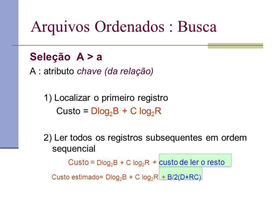 Arquivos Ordenados : Busca Seleção A > a A : atributo chave (da relação) 1) Localizar o primeiro registro Custo = Dlog 2 B + C log 2 R 2) Ler todos os