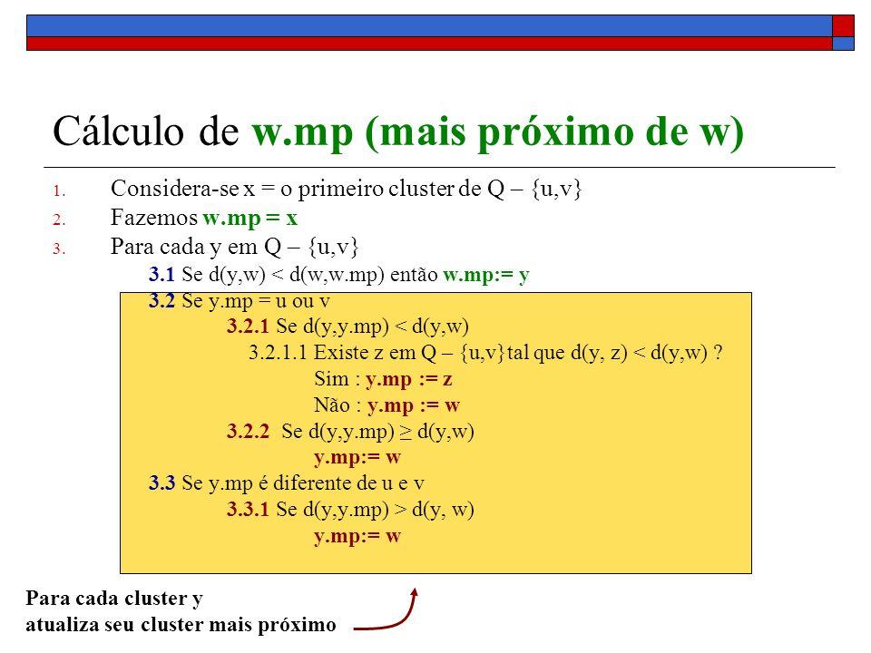 Cálculo de w.mp (mais próximo de w) 1. Considera-se x = o primeiro cluster de Q – {u,v} 2. Fazemos w.mp = x 3. Para cada y em Q – {u,v} 3.1 Se d(y,w)