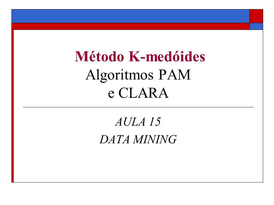 Problema Dados Uma base de dados um número k Objetivo: particionar o conjunto de dados em k clusteres Algoritmo PAM: (Partinioning Around Medoids) encontra k clusters baseados em protótipos Protótipos são objetos da base de dados, representativos dos clusteres Agrupamentos particionais (clusteres disjuntos) Método de particionamento.