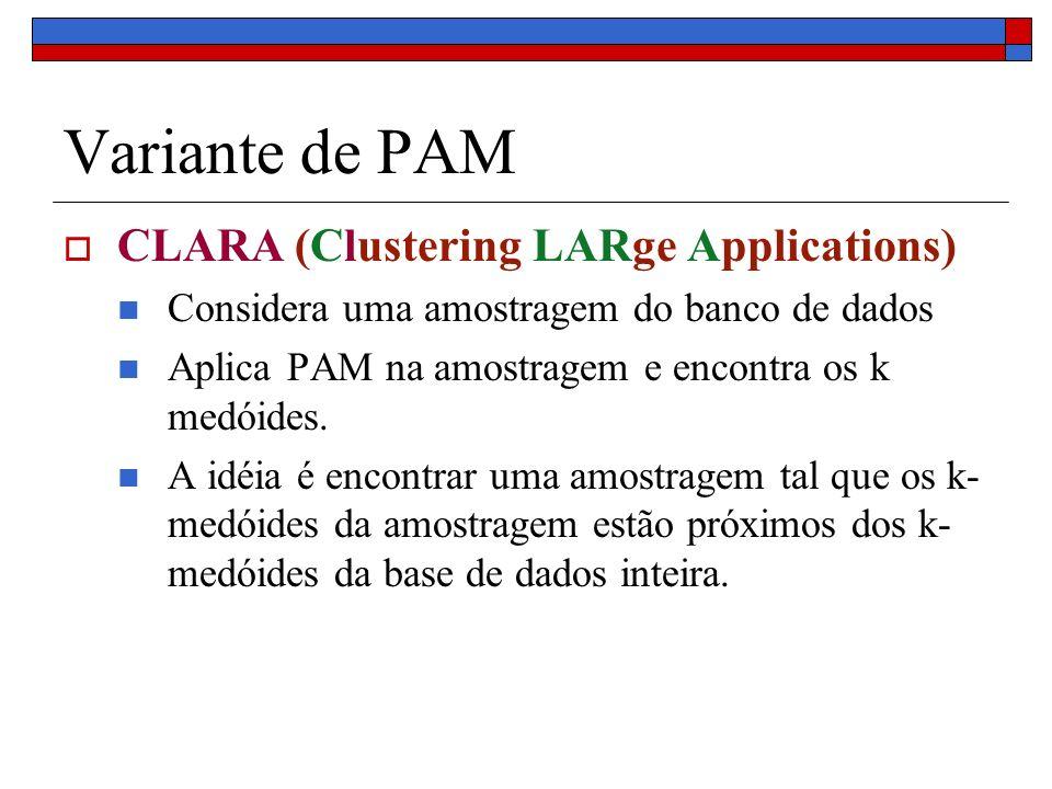 Variante de PAM CLARA (Clustering LARge Applications) Considera uma amostragem do banco de dados Aplica PAM na amostragem e encontra os k medóides. A