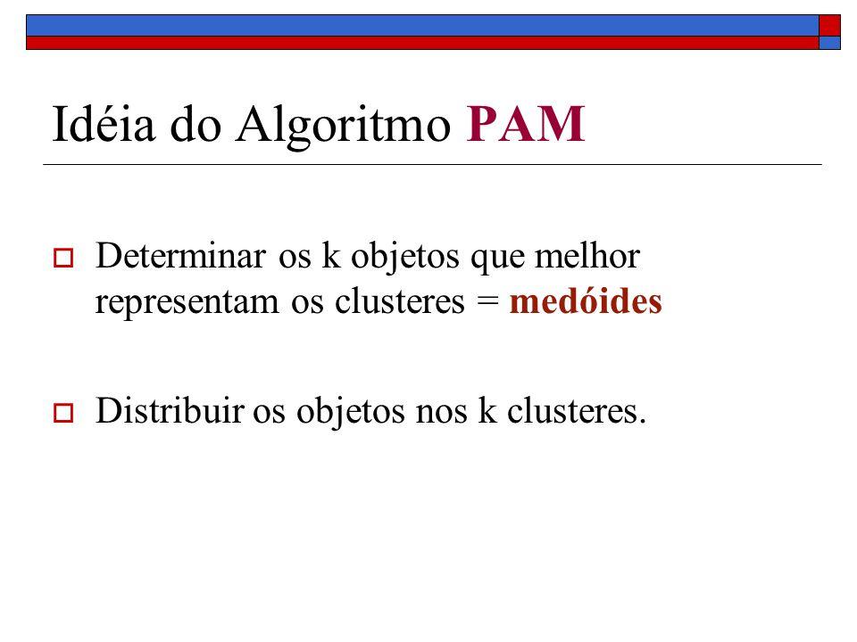 Idéia do Algoritmo PAM Determinar os k objetos que melhor representam os clusteres = medóides Distribuir os objetos nos k clusteres.