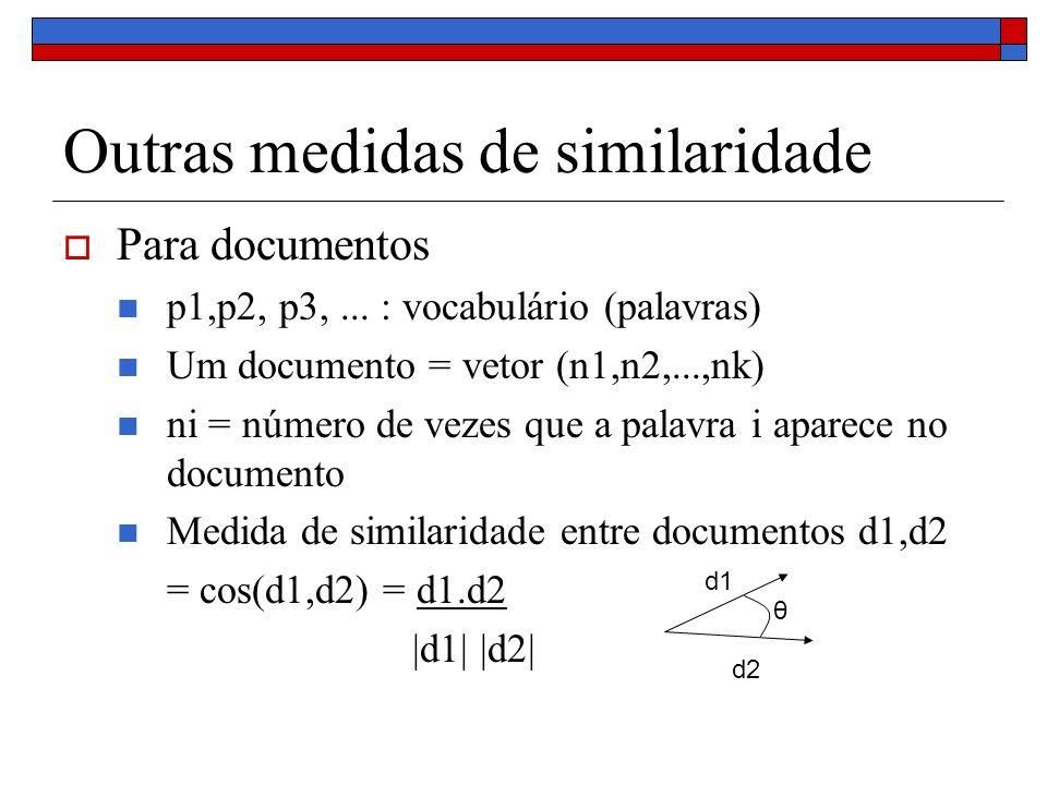 Outras medidas de similaridade Para documentos p1,p2, p3,... : vocabulário (palavras) Um documento = vetor (n1,n2,...,nk) ni = número de vezes que a p