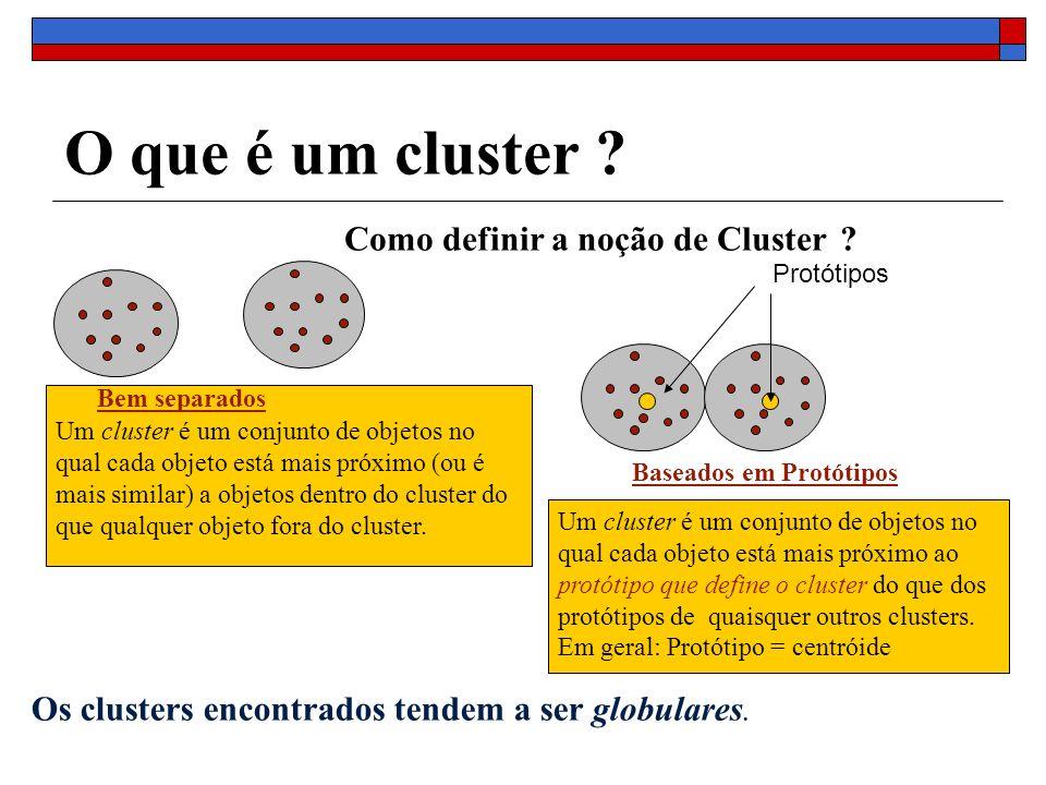 O que é um cluster ? Baseados em Protótipos Um cluster é um conjunto de objetos no qual cada objeto está mais próximo (ou é mais similar) a objetos de