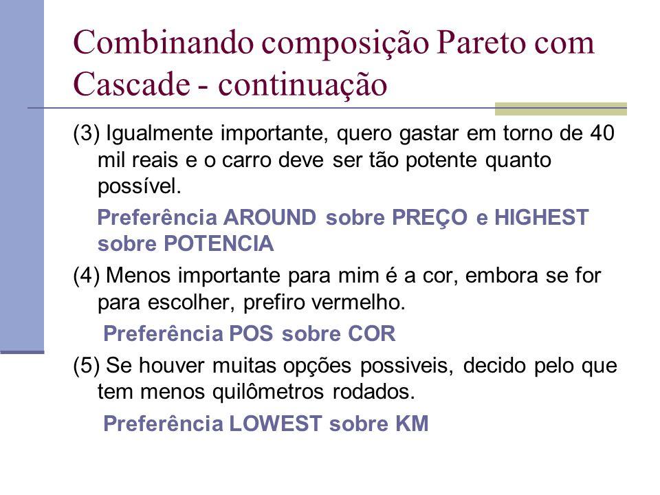 Combinando composição Pareto com Cascade - continuação (3) Igualmente importante, quero gastar em torno de 40 mil reais e o carro deve ser tão potente quanto possível.