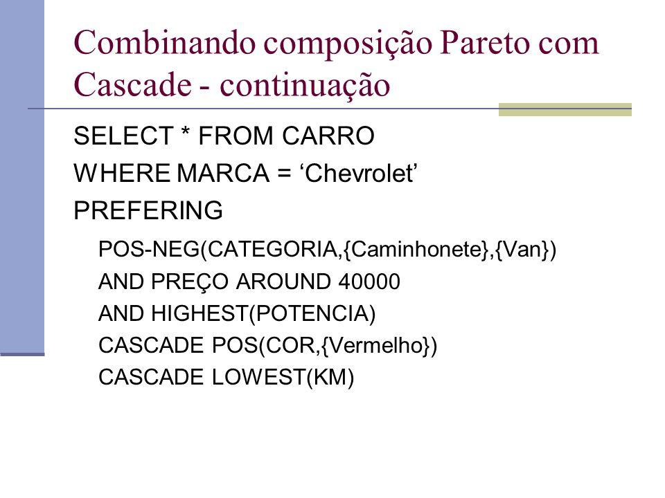 Combinando composição Pareto com Cascade - continuação SELECT * FROM CARRO WHERE MARCA = Chevrolet PREFERING POS-NEG(CATEGORIA,{Caminhonete},{Van}) AND PREÇO AROUND 40000 AND HIGHEST(POTENCIA) CASCADE POS(COR,{Vermelho}) CASCADE LOWEST(KM)