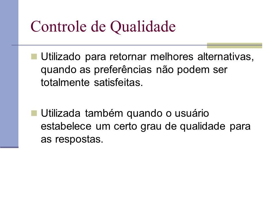 Controle de Qualidade Utilizado para retornar melhores alternativas, quando as preferências não podem ser totalmente satisfeitas.