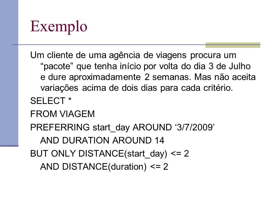 Exemplo Um cliente de uma agência de viagens procura um pacote que tenha início por volta do dia 3 de Julho e dure aproximadamente 2 semanas.