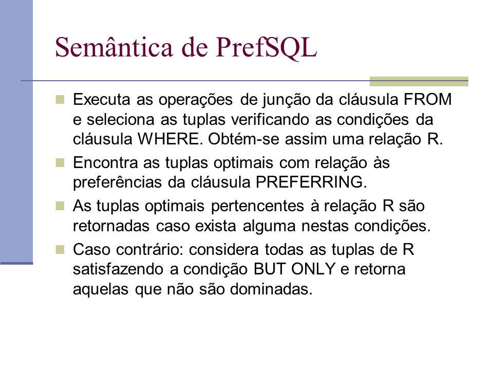 Semântica de PrefSQL Executa as operações de junção da cláusula FROM e seleciona as tuplas verificando as condições da cláusula WHERE.