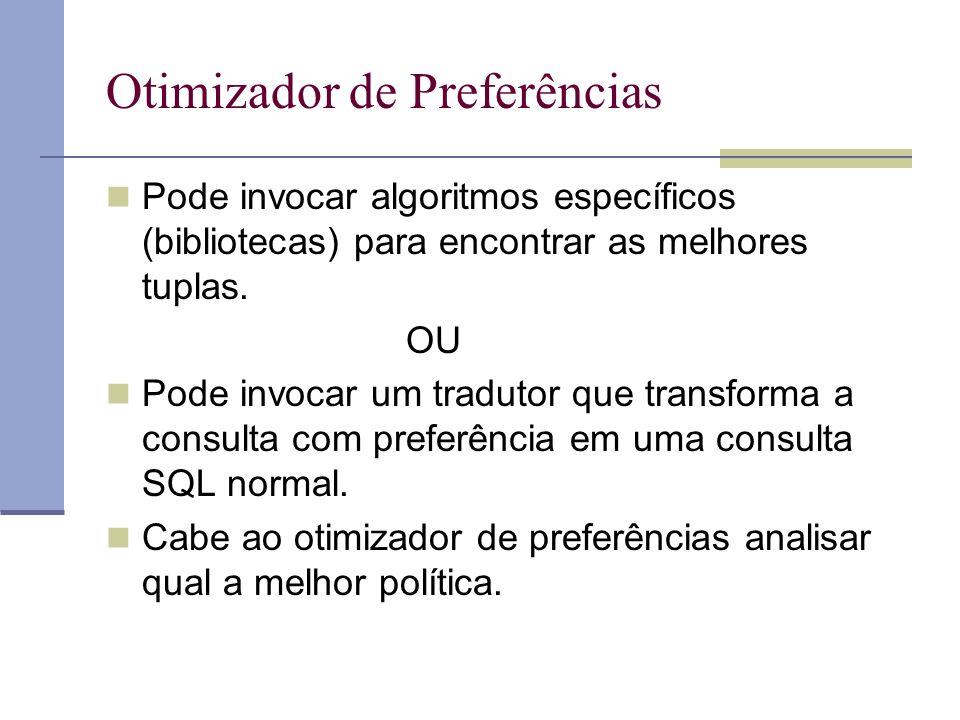 Otimizador de Preferências Pode invocar algoritmos específicos (bibliotecas) para encontrar as melhores tuplas.