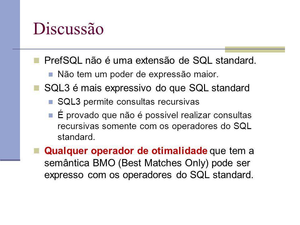 Discussão PrefSQL não é uma extensão de SQL standard.