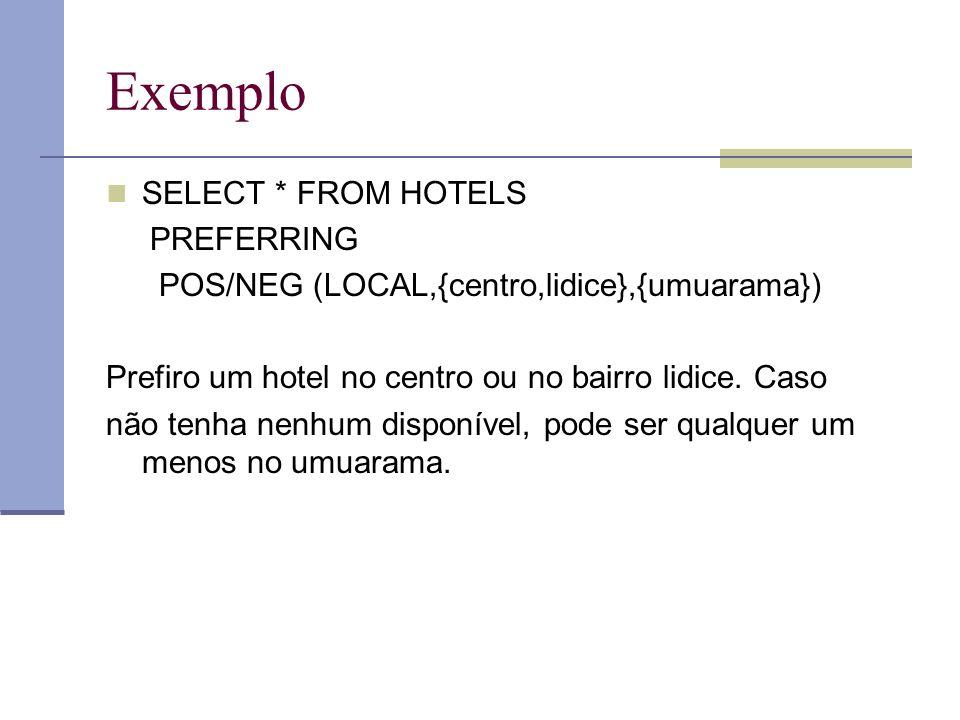 Exemplo SELECT * FROM HOTELS PREFERRING POS/NEG (LOCAL,{centro,lidice},{umuarama}) Prefiro um hotel no centro ou no bairro lidice.