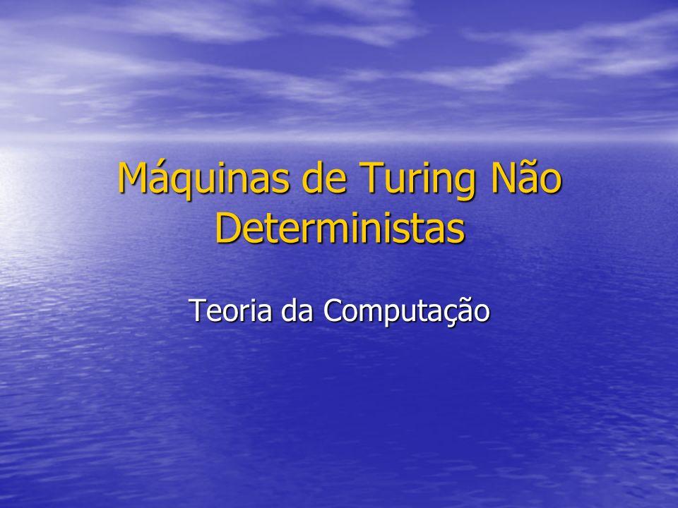 Máquinas de Turing Não Deterministas Teoria da Computação