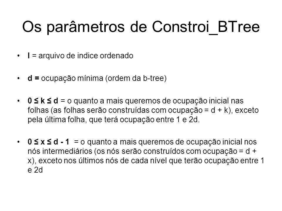 Os parâmetros de Constroi_BTree I = arquivo de indice ordenado d = ocupação mínima (ordem da b-tree) 0 k d = o quanto a mais queremos de ocupação inicial nas folhas (as folhas serão construídas com ocupação = d + k), exceto pela última folha, que terá ocupação entre 1 e 2d.