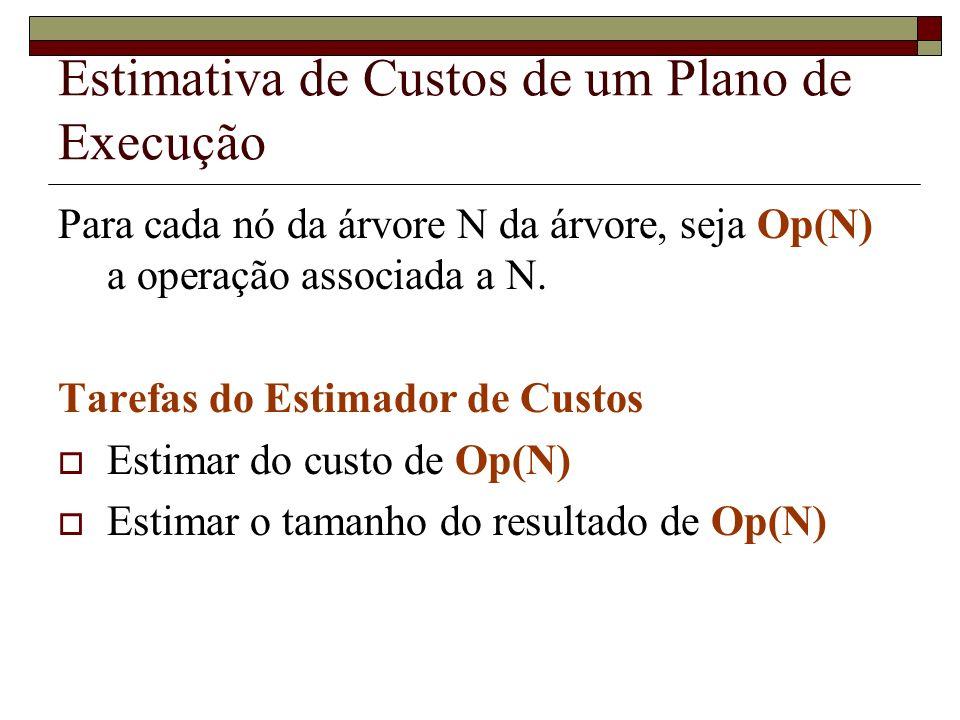 Estimativa de Custos de um Plano de Execução Para cada nó da árvore N da árvore, seja Op(N) a operação associada a N.