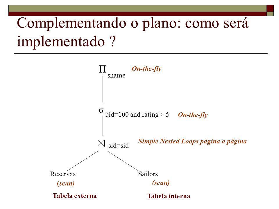 Complementando o plano: como será implementado ? σ ReservasSailors Π sname bid=100 and rating > 5 sid=sid (scan) Simple Nested Loops página a página O