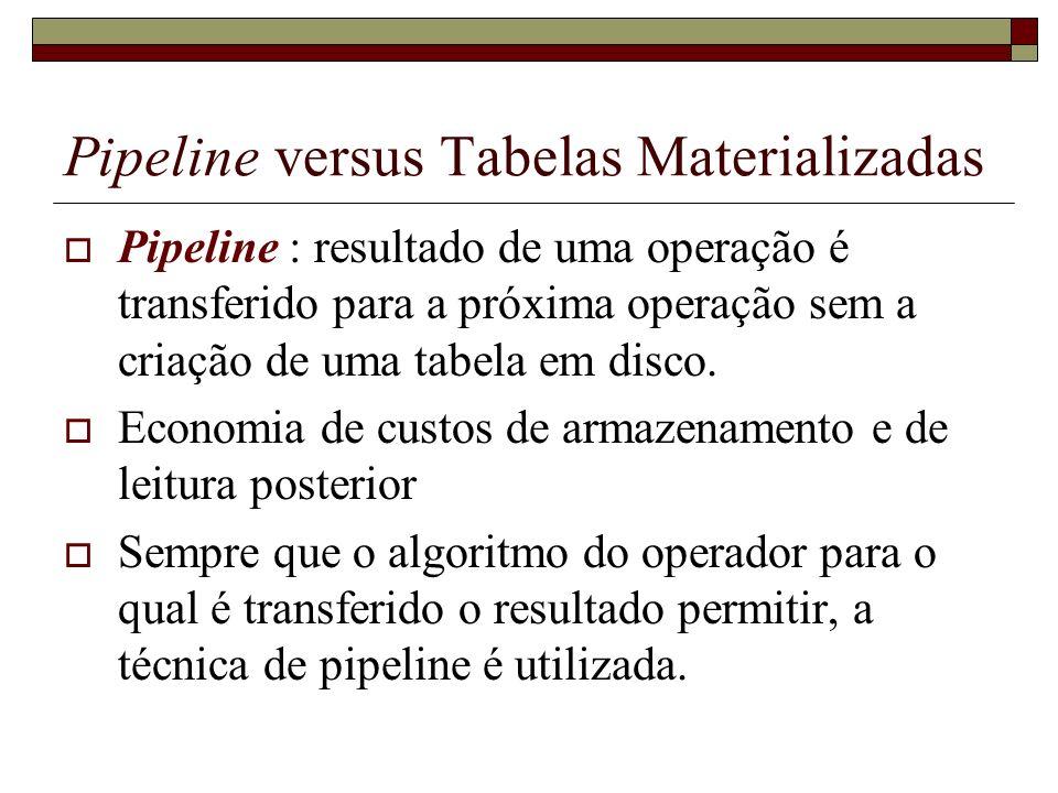 Pipeline versus Tabelas Materializadas Pipeline : resultado de uma operação é transferido para a próxima operação sem a criação de uma tabela em disco