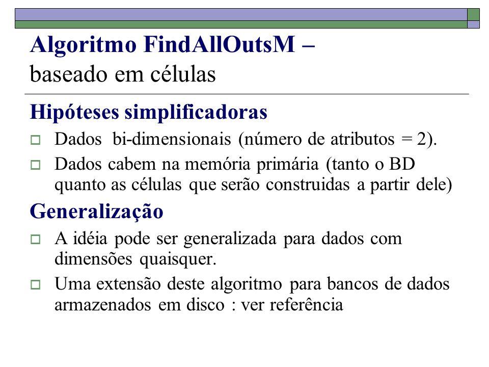 Algoritmo FindAllOutsM – baseado em células Hipóteses simplificadoras Dados bi-dimensionais (número de atributos = 2). Dados cabem na memória primária