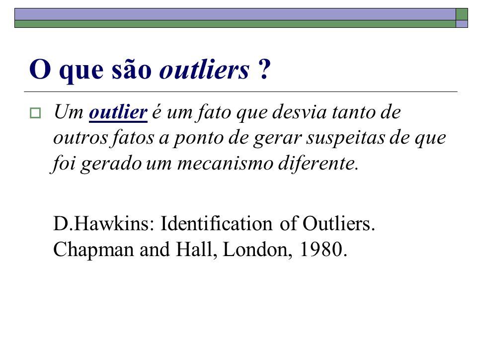O que são outliers ? Um outlier é um fato que desvia tanto de outros fatos a ponto de gerar suspeitas de que foi gerado um mecanismo diferente. D.Hawk