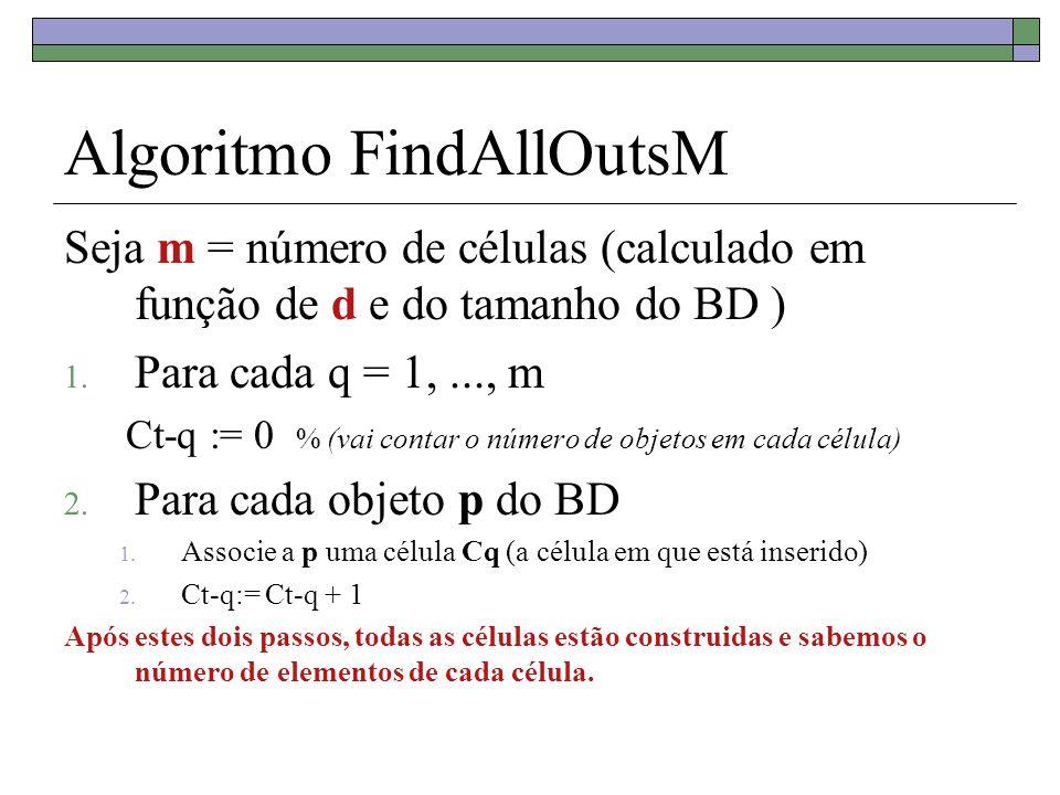Algoritmo FindAllOutsM Seja m = número de células (calculado em função de d e do tamanho do BD ) 1. Para cada q = 1,..., m Ct-q := 0 % (vai contar o n