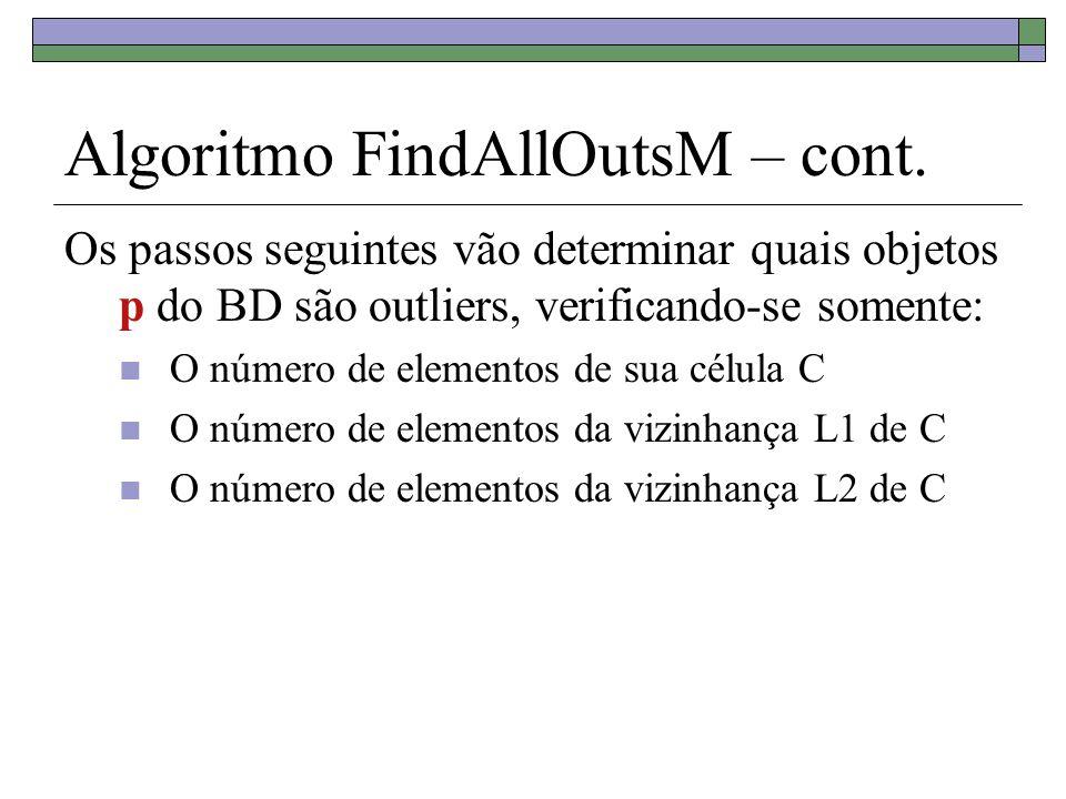 Algoritmo FindAllOutsM – cont. Os passos seguintes vão determinar quais objetos p do BD são outliers, verificando-se somente: O número de elementos de