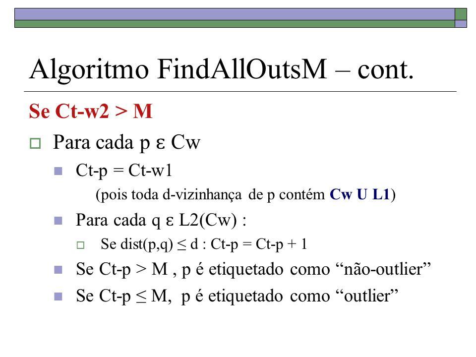 Algoritmo FindAllOutsM – cont. Se Ct-w2 > M Para cada p ɛ Cw Ct-p = Ct-w1 (pois toda d-vizinhança de p contém Cw U L1) Para cada q ɛ L2(Cw) : Se dist(