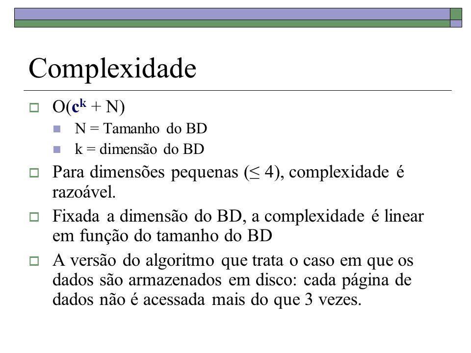 Complexidade O(c k + N) N = Tamanho do BD k = dimensão do BD Para dimensões pequenas ( 4), complexidade é razoável. Fixada a dimensão do BD, a complex