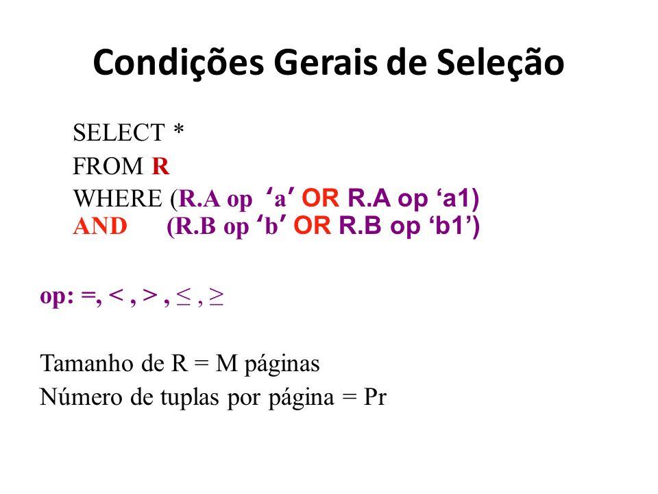 Condições Gerais de Seleção SELECT * FROM R WHERE (R.A op a OR R.A op a1) AND (R.B op b OR R.B op b1) op: =,,, Tamanho de R = M páginas Número de tupl