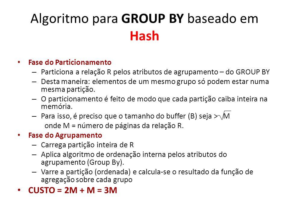 Algoritmo para GROUP BY baseado em Hash Fase do Particionamento – Particiona a relação R pelos atributos de agrupamento – do GROUP BY – Desta maneira: