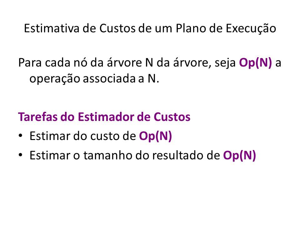 Estimativa de Custos de um Plano de Execução Para cada nó da árvore N da árvore, seja Op(N) a operação associada a N. Tarefas do Estimador de Custos E