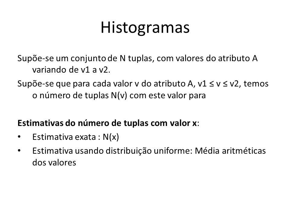 Histogramas Supõe-se um conjunto de N tuplas, com valores do atributo A variando de v1 a v2. Supõe-se que para cada valor v do atributo A, v1 v v2, te