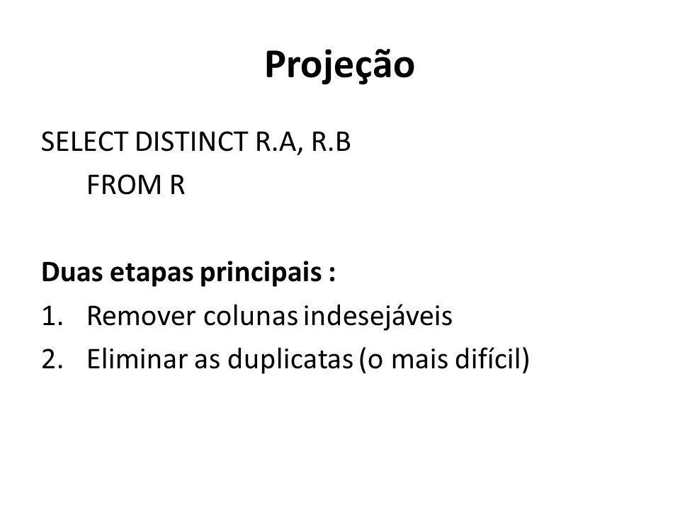 Projeção SELECT DISTINCT R.A, R.B FROM R Duas etapas principais : 1.Remover colunas indesejáveis 2.Eliminar as duplicatas (o mais difícil)