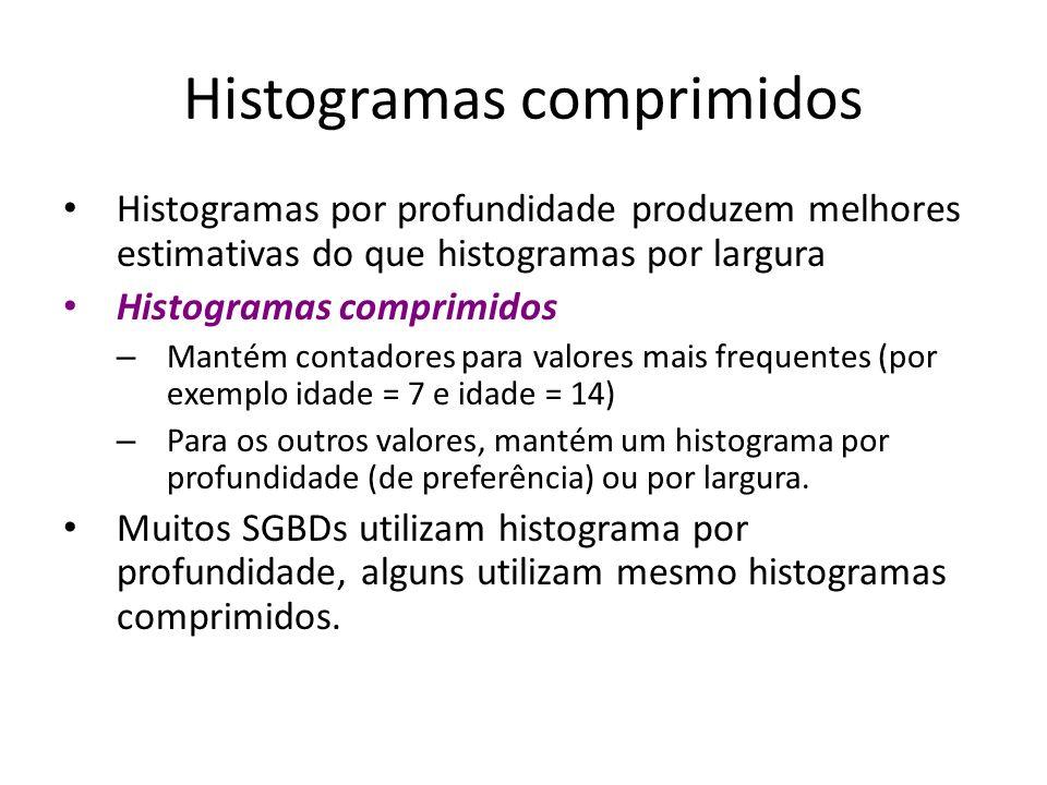 Histogramas comprimidos Histogramas por profundidade produzem melhores estimativas do que histogramas por largura Histogramas comprimidos – Mantém con