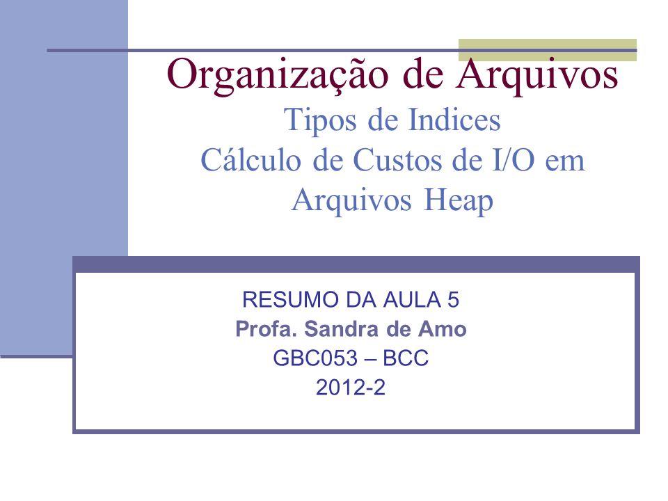Organização de Arquivos Tipos de Indices Cálculo de Custos de I/O em Arquivos Heap RESUMO DA AULA 5 Profa. Sandra de Amo GBC053 – BCC 2012-2