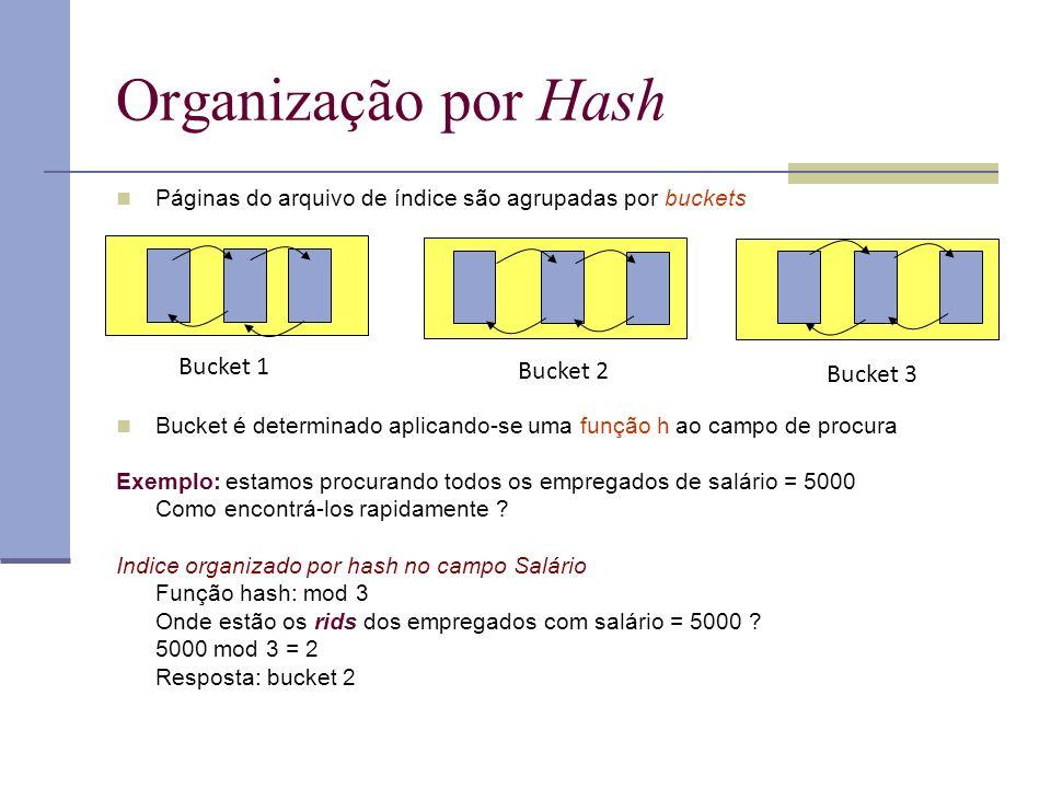 Organização por Hash Páginas do arquivo de índice são agrupadas por buckets Bucket é determinado aplicando-se uma função h ao campo de procura Exemplo