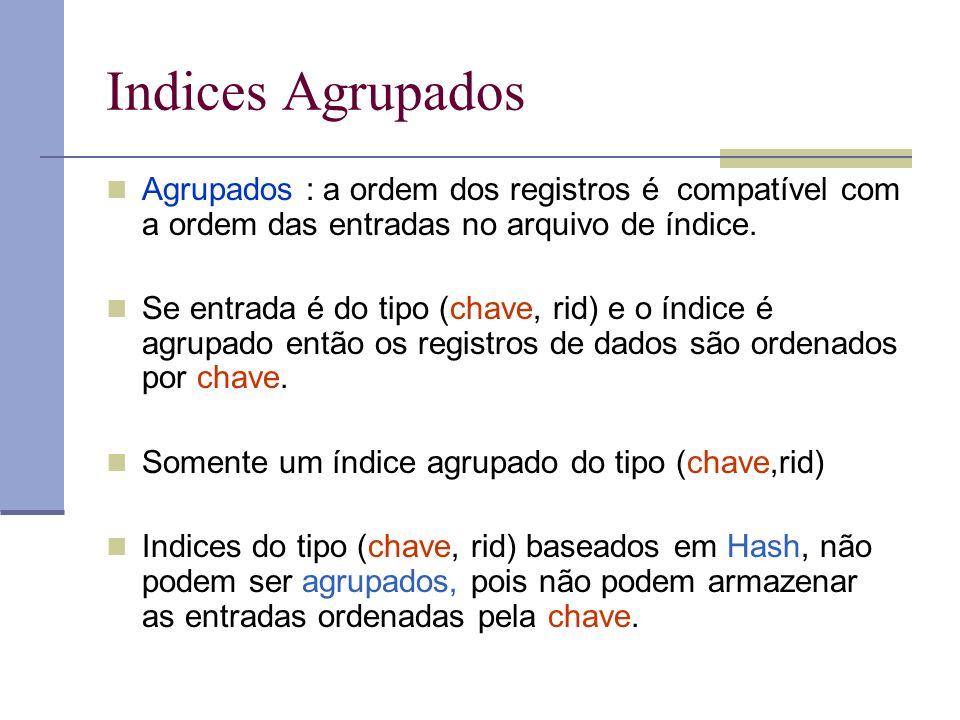 Indices Agrupados Agrupados : a ordem dos registros é compatível com a ordem das entradas no arquivo de índice. Se entrada é do tipo (chave, rid) e o