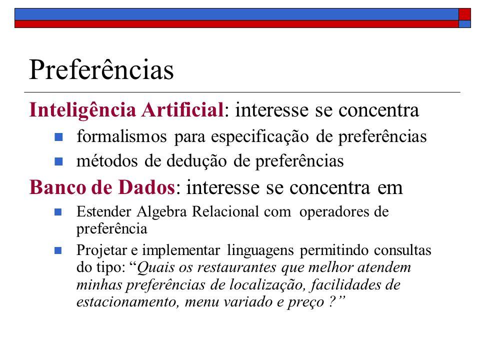 Preferências Inteligência Artificial: interesse se concentra formalismos para especificação de preferências métodos de dedução de preferências Banco d