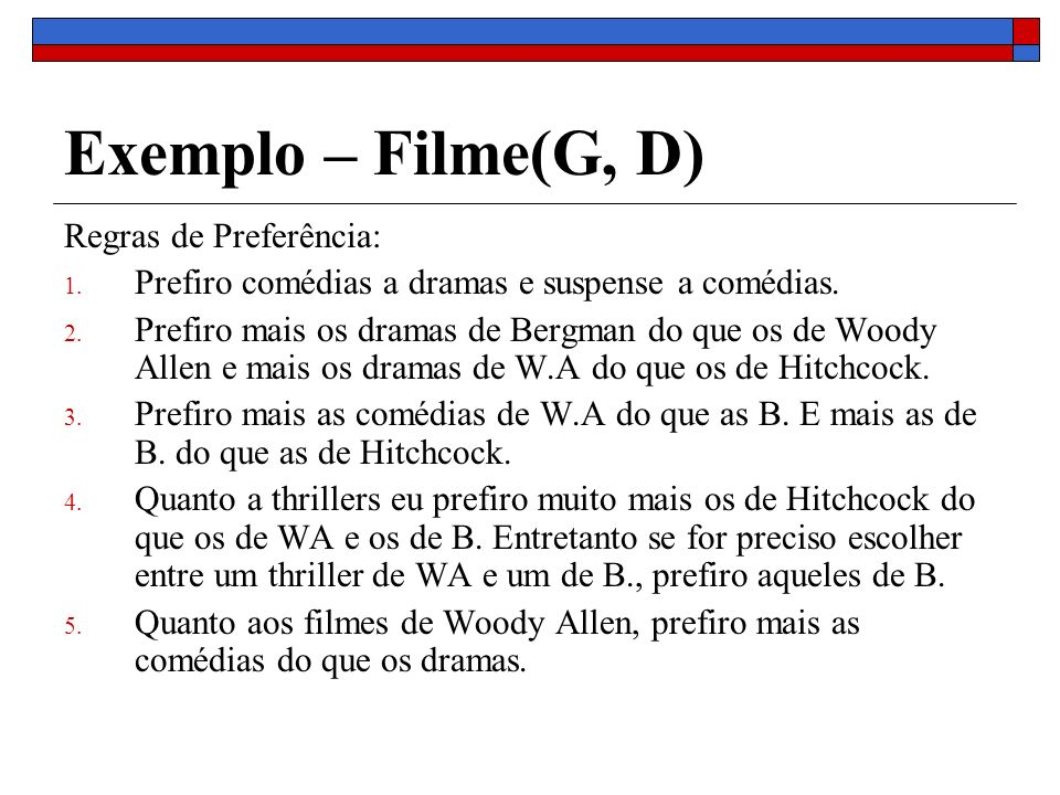 Exemplo – Filme(G, D) Regras de Preferência: 1. Prefiro comédias a dramas e suspense a comédias. 2. Prefiro mais os dramas de Bergman do que os de Woo