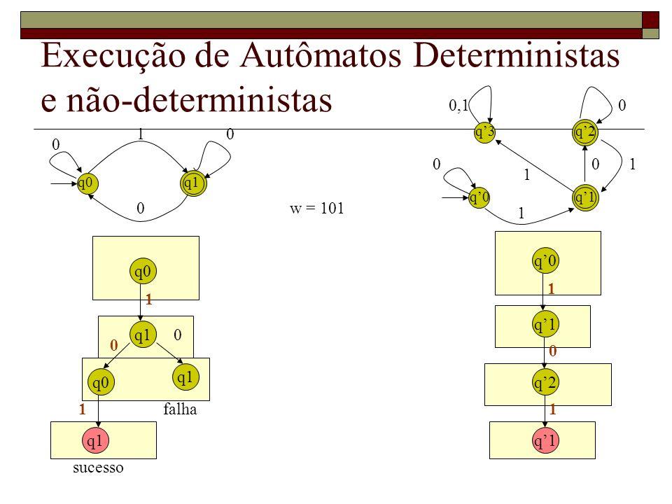 Autômato com - movimentos qq Passa de q para q sem avançar na fita – não lê nada – fica parado q2 q3 q4 0,1 11 q1 w = 010110 q1 q2q1 q3 q4 q1 q2 q3 q4 0 1 0 1 0 1 1 1 0 1 1
