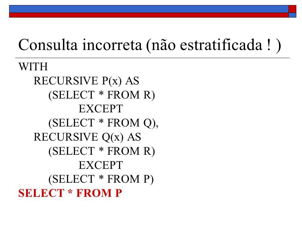 Consulta incorreta (não estratificada ! ) WITH RECURSIVE P(x) AS (SELECT * FROM R) EXCEPT (SELECT * FROM Q), RECURSIVE Q(x) AS (SELECT * FROM R) EXCEP