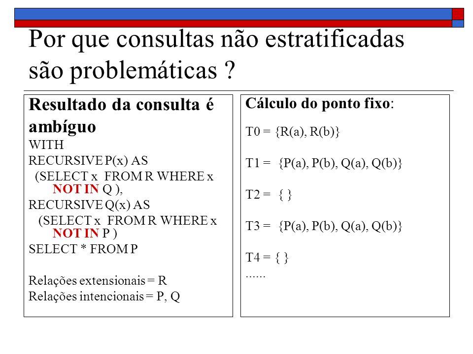 Por que consultas não estratificadas são problemáticas ? Resultado da consulta é ambíguo WITH RECURSIVE P(x) AS (SELECT x FROM R WHERE x NOT IN Q ), R