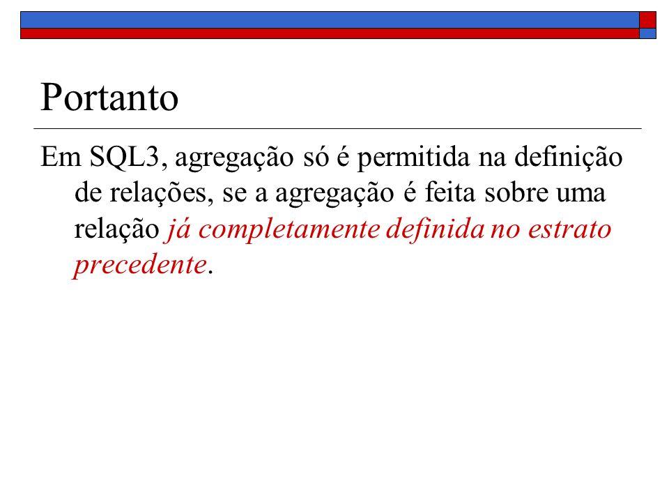 Portanto Em SQL3, agregação só é permitida na definição de relações, se a agregação é feita sobre uma relação já completamente definida no estrato pre